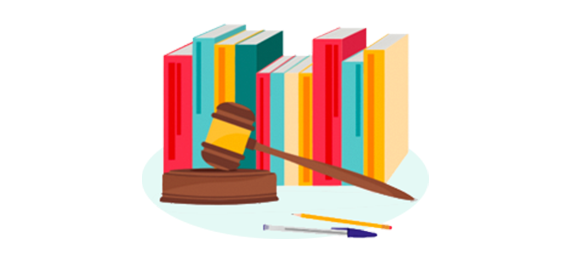 A row of books with a gavel