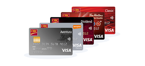 Five different CIBC Visa credit cards