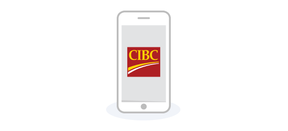 Smartphone with CIBC logo on the screen