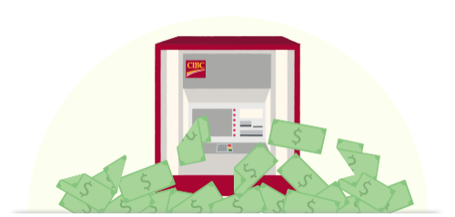 CIBC ATM dispensing U.S. dollars