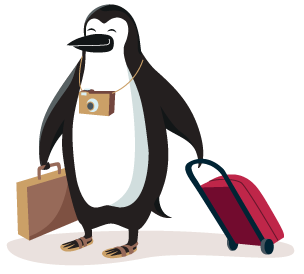 Percy Penguin arrives at the beach with his suitcases