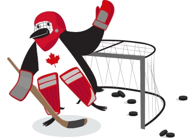 Percy Penguin playing goalie for Canada's hockey team
