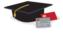 Graduation cap, credit card, and debit card